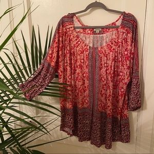 Lucky Brand Red and White Boho Top
